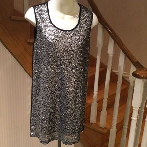 NWOT Silver sequence-front,black back mini dress